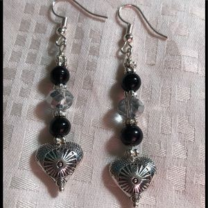 Silver Hearts with Onyx bead Earrings